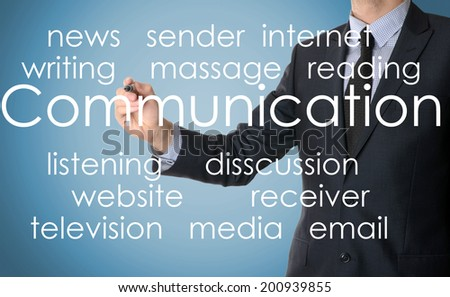 businessman writing communication - stock photo