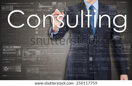 businessman writing Consulting and drawing some sketches  - stock photo