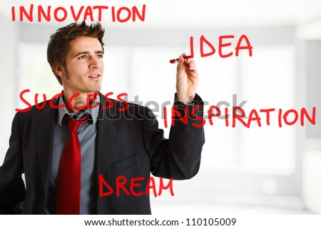 Businessman writing creative concepts on the screen