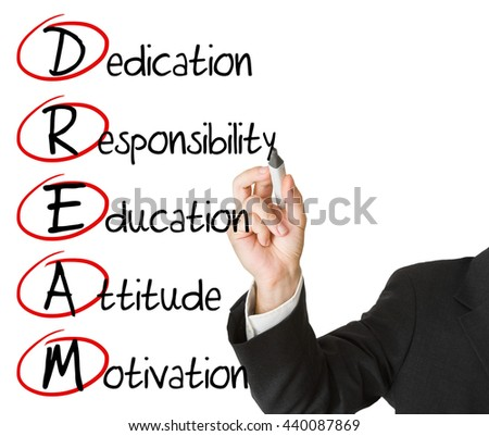Businessman writing DREAM business acronym on whiteboard isolated on white background