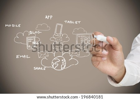 Businessman writing graphic against grey background with vignette