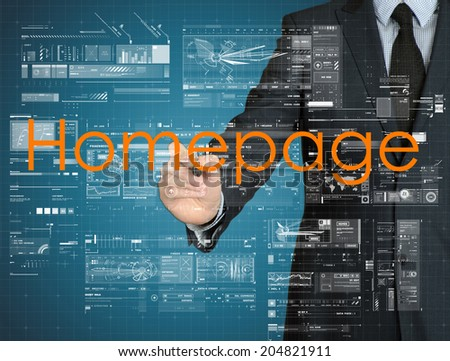 businessman writing Homepage with some modern graphs on virtual screen - stock photo