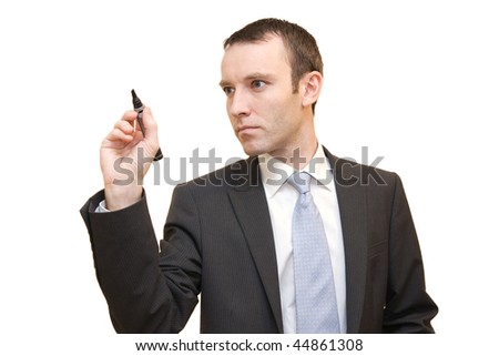 businessman writing in the air - stock photo