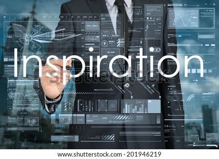 businessman writing inspiration in the background is a city landscape - stock photo