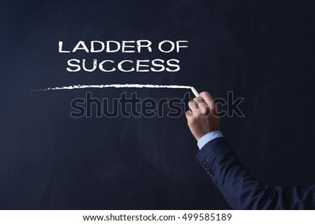 Businessman writing LADDER OF SUCCESS on Blackboard
