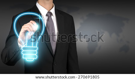 businessman writing lamp.concept,good idea - stock photo