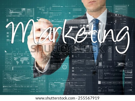 businessman writing marketing process concept  - stock photo