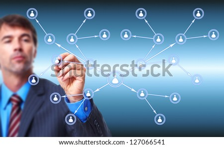 Businessman writing on blue screen. Successful strategy background. - stock photo