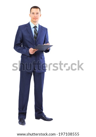 businessman writing on clipboard isolated over white background  - stock photo