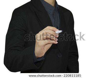 Businessman writing, on the screen - stock photo