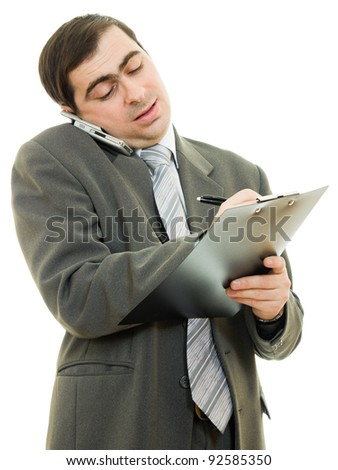 Businessman writing on the tablet pen on a white background. - stock photo