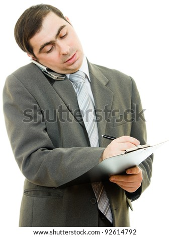 Businessman writing on the tablet pen on a white background.
