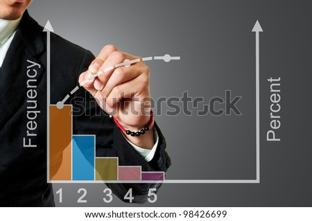 Businessman writing pareto chart - stock photo