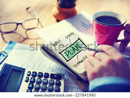 Businessman Writing Plan Goals Vision Concept - stock photo
