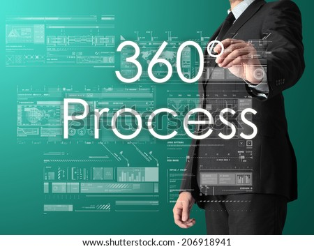 businessman writing 360 process and drawing some sketches  - stock photo