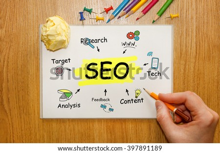 Businessman writing SEO concept in his Notebook  - stock photo