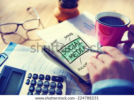 Businessman Writing Social Media Networking Concept - stock photo