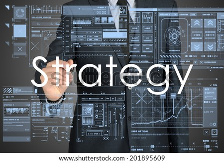businessman writing strategy - stock photo