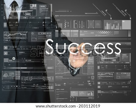businessman writing success and drawing graphs and diagrams - stock photo