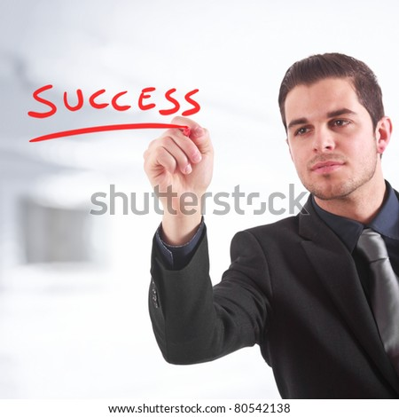 "Businessman writing ""success"" on the screen"