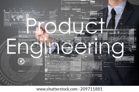 businessman writing technology terminology on virtual screen with business or technology background - product engineering - stock photo
