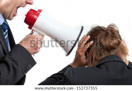 Businessman yelling at his worker, isolated background - stock photo
