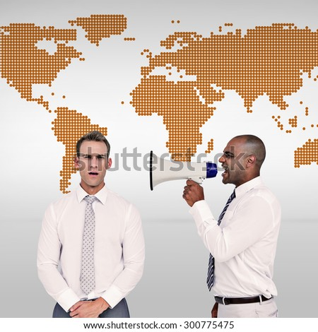 Businessman yelling with a megaphone at his colleague against orange world map on white background - stock photo