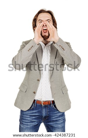 businessman yelling with open hands. emotions, facial expressions, feelings, body language, signs. image on a white studio background. - stock photo