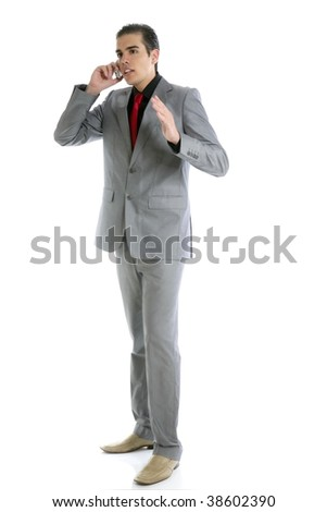 Businessman young full body talking phone isolated on white - stock photo