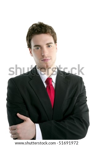 businessman young handsome portrait tie suit isolated on white - stock photo