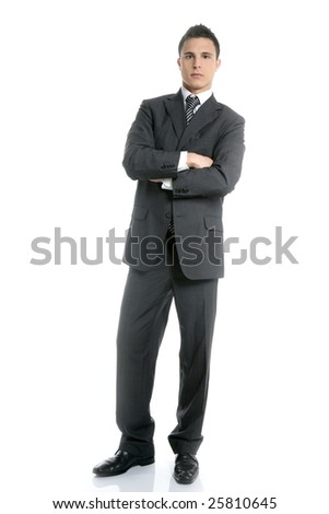 Businessman young stand up, full length on white background - stock photo