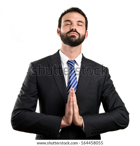 Businessman zen over isolated white background - stock photo