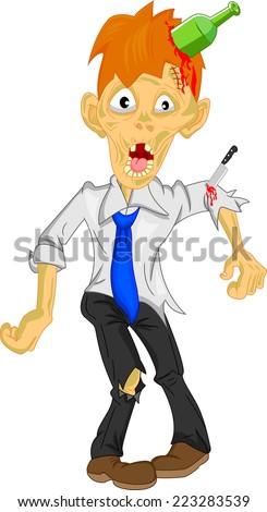 businessman zombie cartoon - stock photo