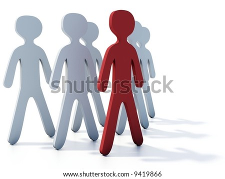 Businessmans group with red leader on white - stock photo