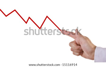 Businessmans hand on chart showing negative growth trend - stock photo