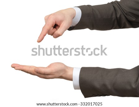 Businessmans hands with empty space on isolated white background
