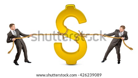 Businessmans pulling glowing dollar sign against another man isolated on white background - stock photo