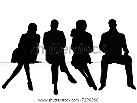 businessmen and businesswomen silhouettes sitting on bench - stock photo