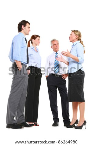 businessmen and businesswomen talking - stock photo
