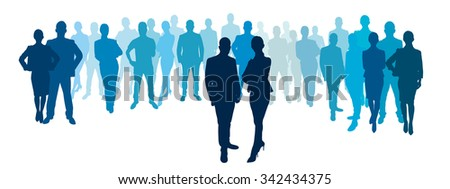 Businessmen and businesswomen with business team group illustration