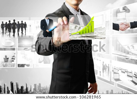 businessmen and Reaching images streaming - stock photo