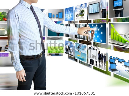 businessmen and Reaching images streaming  isolated on white background - stock photo