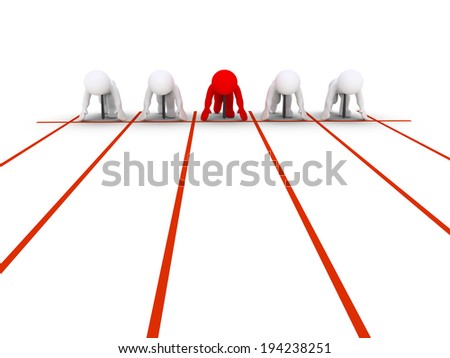 Businessmen are at the start line about to compete in running - stock photo