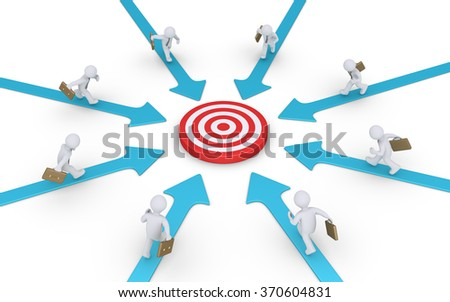 Businessmen are running on arrows pointing to a target at the center