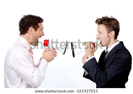Businessmen are shouting at each other