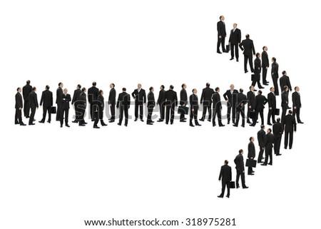 Businessmen arrow direction concept - stock photo
