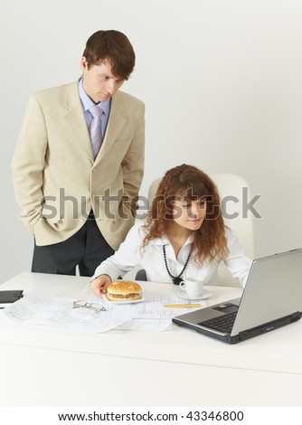 Businessmen at office during a lunch break - stock photo