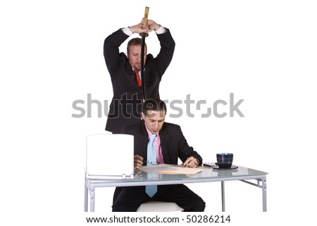Businessmen at Office - Isolated Background - Backstabbing Concept