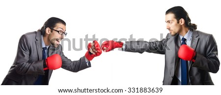 Businessmen boxing isolated on the white - stock photo
