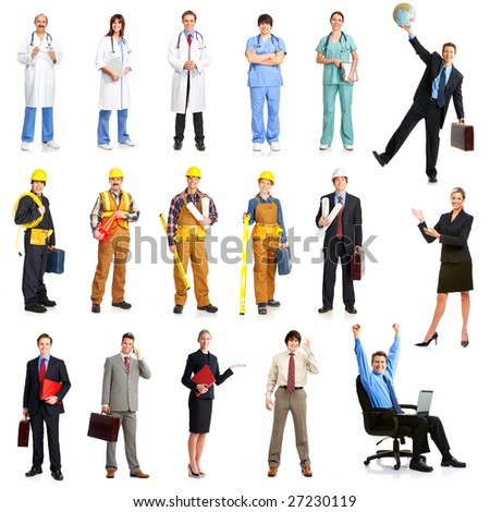 Businessmen, builders, nurses, architect. Isolated over white background - stock photo